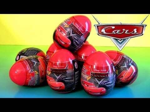 9 Surprise Eggs Disney Pixar Cars 2013 with Car Toy DTC TOYS Unboxing Review Sally, Tractor Tippin
