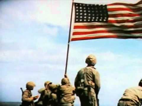 Raising the Flag on Iwo Jima (color)