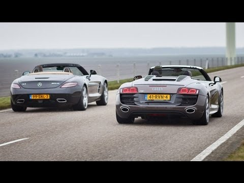 Mercedes SLS Roadster vs Audi R8 Spyder
