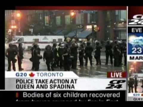 Toronto Police detain & process Black Bloc? Spadina Queen Public G8 G20 Summit rain Sammy Katz CP24
