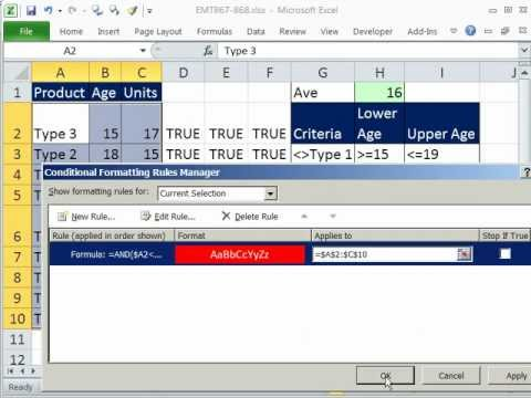 Excel Magic Trick 868 Conditional Format Row Not &amp; Between Criteria: Excel Conditional Formatting