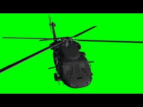 Helicopter HU-60 Black Hawk - various flights - green screen effect
