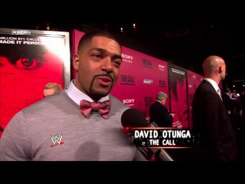 "David Otunga & Halle Berry attend the premiere for ""The Call"""