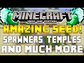 Minecraft XboxOne & PS4 -  AMAZING! STARTER SEED ABOVE GROUND SPAWNERS VILLAGES, TEMPLES & MORE