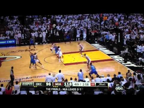 NBA Finals Game 5 Miami Heat vs. Thunder - Last Minutes 4th Quarter | 2012 NBA Finals