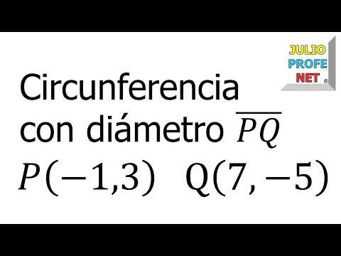 Ecuación de una circunferencia dados los extremos de un diámetro