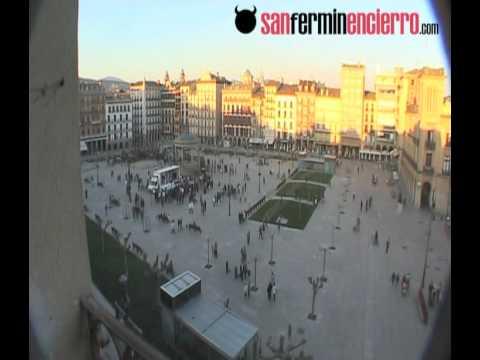 SanFerminEncierro en la Plaza del Castillo