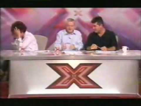 The X Factor - Sharon can't stop laughing.