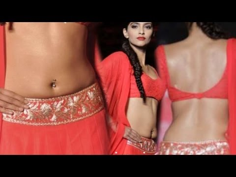 Sonam Kapoor Flashing Navel Tight Red Choli
