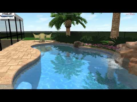 Lake Worth Pool -  3D Swimming Pool Design - Rock waterfall Builder