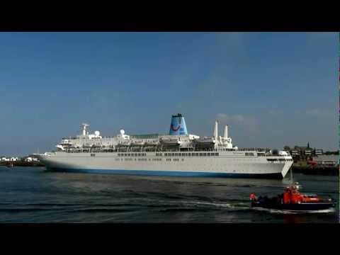 Thomson Spirit Cruise Ship sails by the North Shields Fish quay toward the open sea 29th May 2012