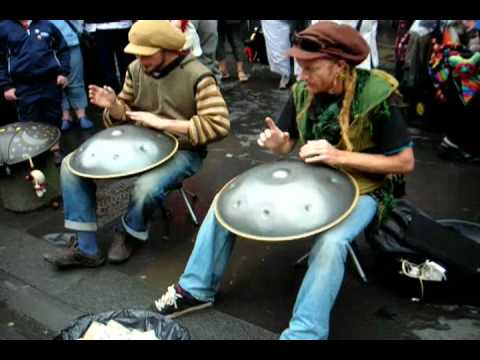 Dan and Daniel, the Hang Playing Hedge Monkeys in Edinburgh Rainy Summer 2008 Festival percussion