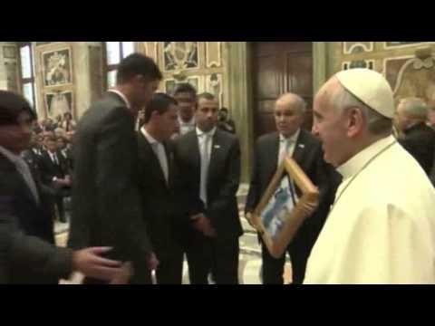 Raw: Pope Francis Greets Football Stars