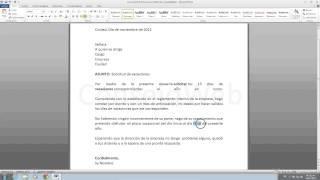 Como hacer una carta de solicitud de vacaciones en word 2010