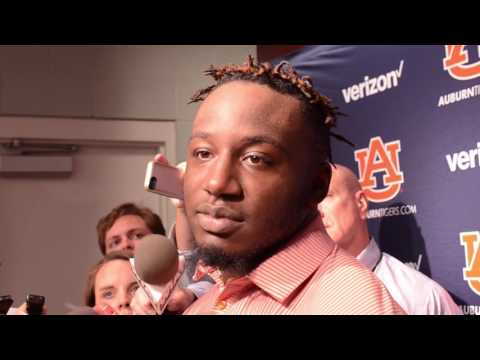Auburn running back Kamryn Pettway gives a postgame interview following Auburn's 38-14 win over Mississippi State.