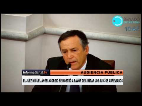 <b>Audiencia.</b> juez Miguel Ángel Giorgio a favor de limitar juicios abreviados