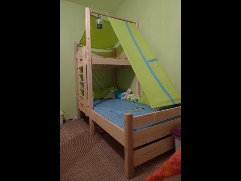Travail du bois construction d 39 un lit cabane for Plan construction lit bois