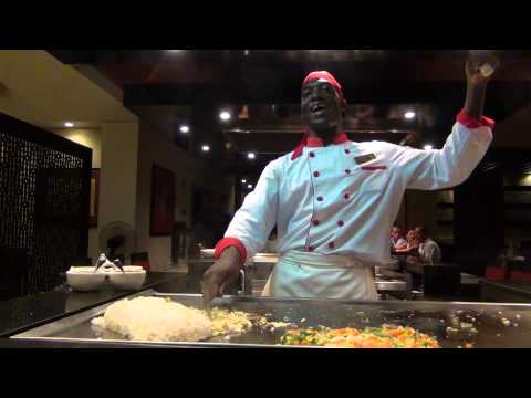 Skilled Jamaican Chef Cooking Fried Rice