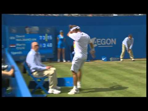 David Nalbandian angrily kicks Linesman in Queens Final [17/6/12] - BBC One (ORIGINAL VIDEO)