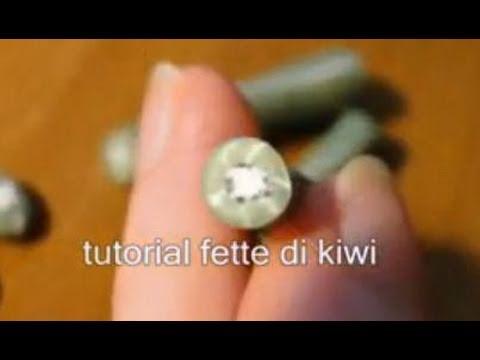 Tutorial fette di kiwi in fimo e cernit_kiwi Cane polymer clay tranches de kiwi en fimo