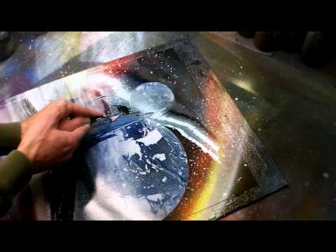 Artist creates a masterpiece using spray paint