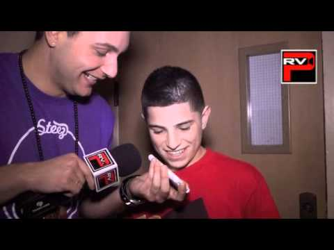 Nick Mara of Iconic Boyz calls a fan and thanks her for gift at the NRG Dance Tour Sacramento