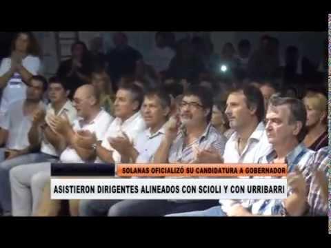 <b>Acto en Paran�.</b> Solanas oficializ� su candidatura entre sciolistas y urribarristas
