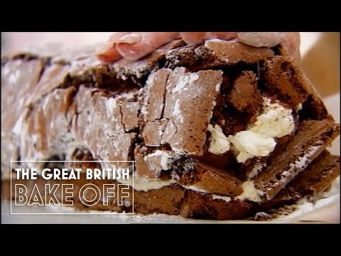 How to roll a chocolate roulade with Mary Berry Pt 3 | The Great British Bake Off