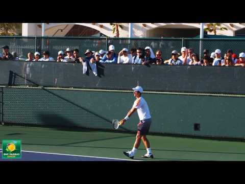 Novak Djokovic playing practice points in slow motion HD -- Indian Wells Pt.  07