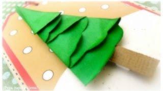 DN1: Cómo hacer un Abeto de Papel. Tutorial árbol de Navidad y tarjeta Scrapbook.