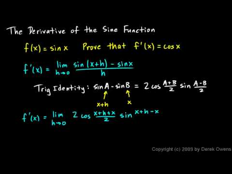 Calculus 3.08a - Derivative of the Sine Function