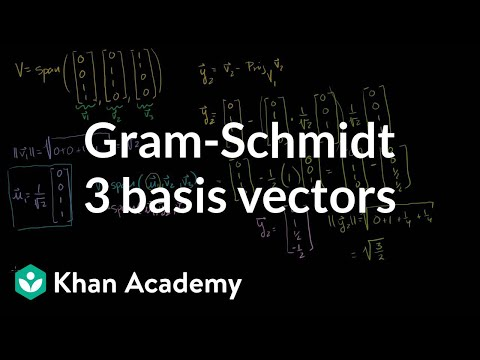 Linear Algebra:  Gram-Schmidt example with 3 basis vectors