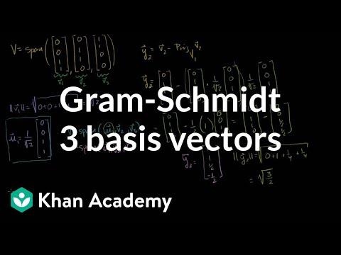 Linear Algebra:  Gram-Schmidt example with 3 basis vectors