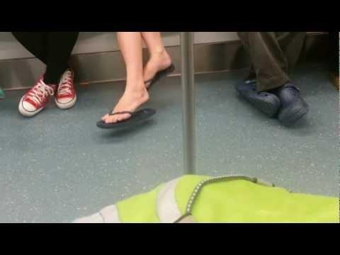 Swinging Double Crossed Legs in train