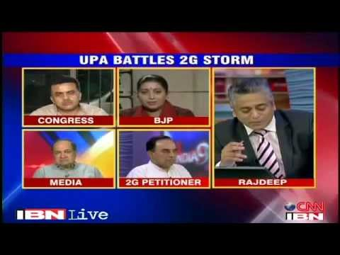 2G Spectrum Scam debate with Subramanian Swamy Rajdeep Sardesai on CNN IBN