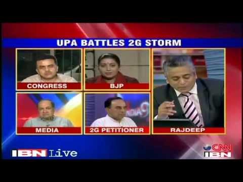 2G Spectrum Scam debate with Subramanian Swamy Rajdeep Sardesai on CNN IBN