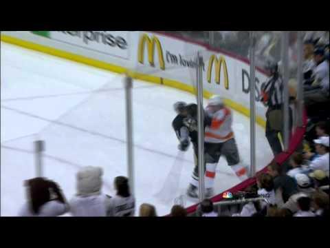 Brayden Schenn hit on Craig Adams. Philadelphia Flyers vs Pittsburgh Penguins 4/11/12 NHL Hockey