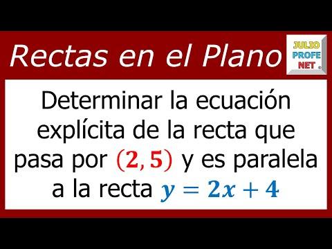 Ecuación de una recta que pasa por un punto dado y que es paralela a otra recta dada