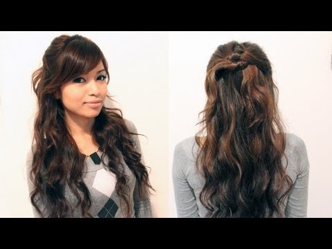 Easy Holiday Half-Updo Hairstyle for Medium Long Hair Tutorial