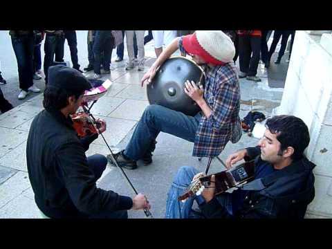 Hang, Violin and Guitar jamming in Valetta, Malta, Nov 2010