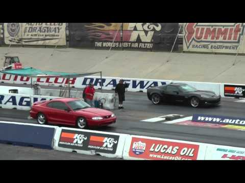 1995 Mustang Cobra vs 2008 Corvette Z06 (1/4 Mile)