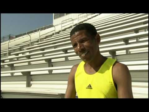 Haile Gebrselassie discussing training and competition