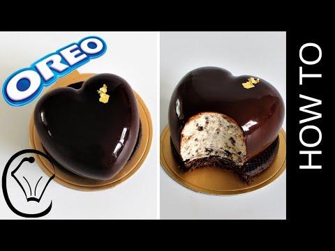 Mirror Glaze Cookies and Cream Cheesecake Heart Entremet