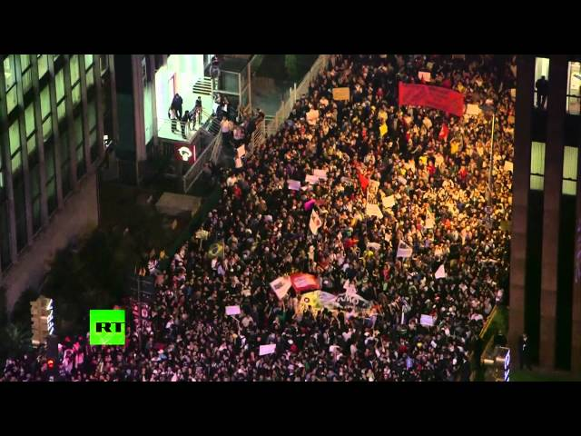 Video: Mass protests hit Brazil over transport fares, FIFA cup overspending