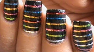 Striping tape nail art tutorial youtube prinsesfo Image collections
