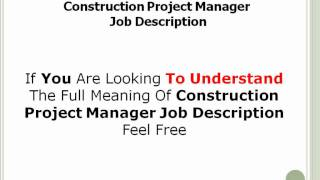 Construction Project Manager Job Description   YouTube