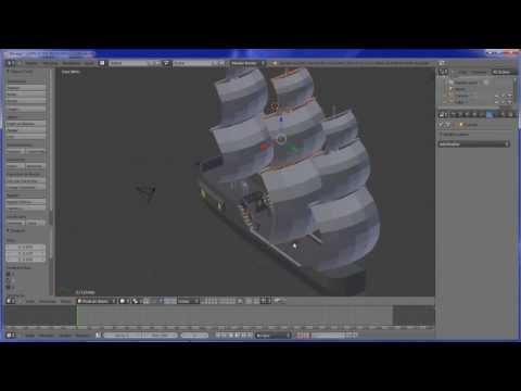 (Aula 12) Blender tutorial em Portugues, Modelando um Navio Pirata.