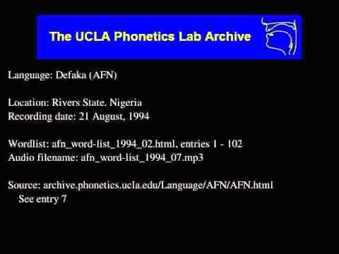 Defaka audio: afn_word-list_1994_07
