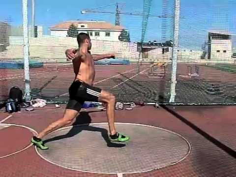 Slow motion Discus Throw Erik Cadee Tenerife November 2011 Side view