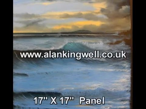 Looe Island Sunset,Cornwall, an oil painting demonstration by Alan Kingwell